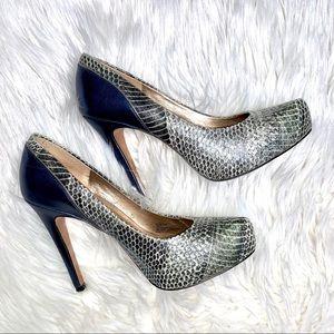 BCBG Paeyton Blue/Snake Heels - Size 7